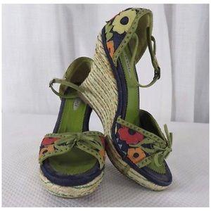 LaSilla Floral Wedge Sandals